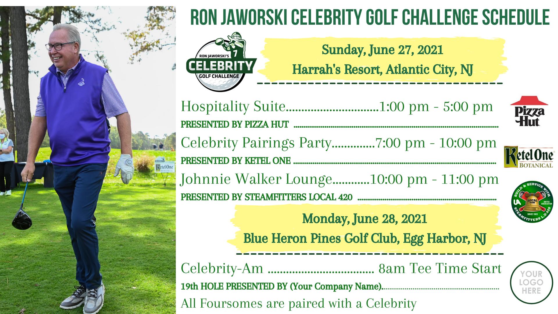 Ron Jaworski Celebrity Golf Challenge June 27-28, 2021